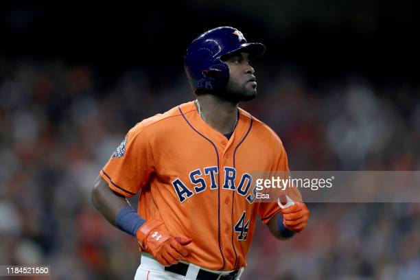 Yordan Alvarez of the Houston Astros draws a walk against the Washington Nationals during the fifth inning in Game Seven of the 2019 World Series at...
