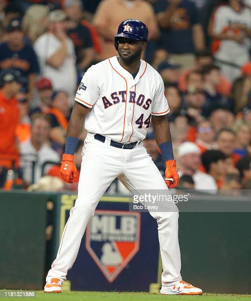 Yordan Alvarez of the Houston Astros during game two of the American League Championship Series against the New York Yankees at Minute Maid Park on...