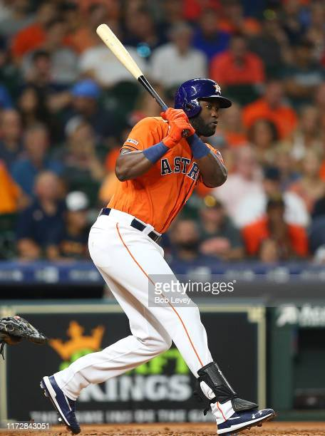 Yordan Alvarez of the Houston Astros grounds out to second base scoring a batter from third base against the Seattle Mariners at Minute Maid Park on...