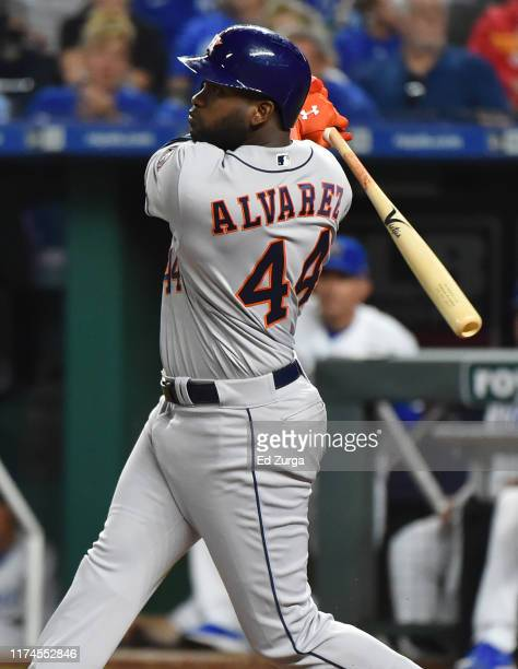 Yordan Alvarez of the Houston Astros hits a double in the third inning against the Kansas City Royals at Kauffman Stadium on September 13 2019 in...