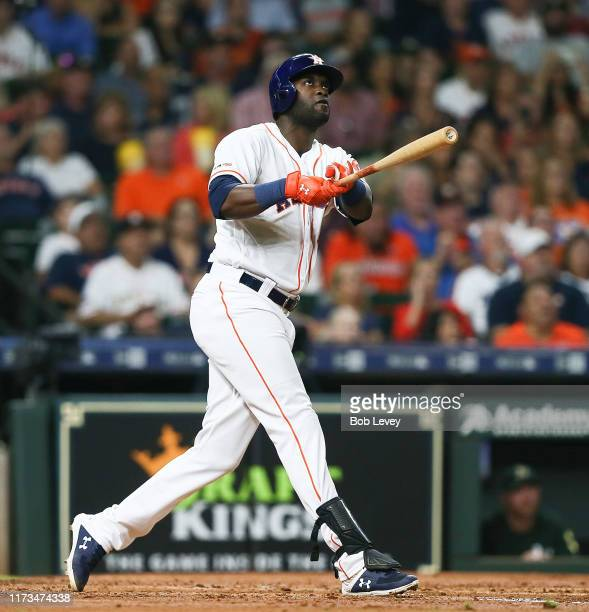 Yordan Alvarez of the Houston Astros hits a home run in the second inning against the Oakland Athletics at Minute Maid Park on September 09 2019 in...