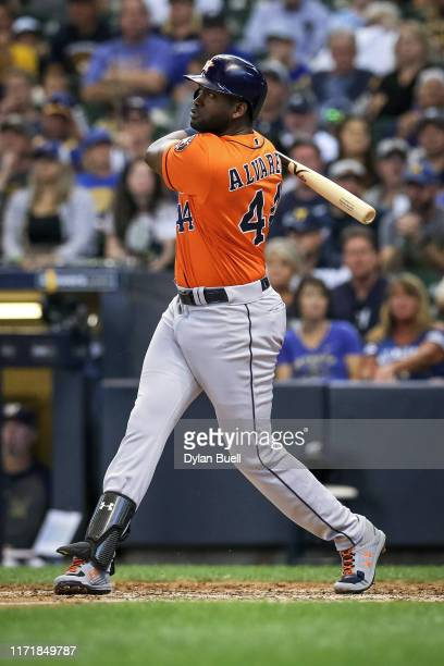 Yordan Alvarez of the Houston Astros hits a home run in the sixth inning against the Milwaukee Brewers at Miller Park on September 02 2019 in...