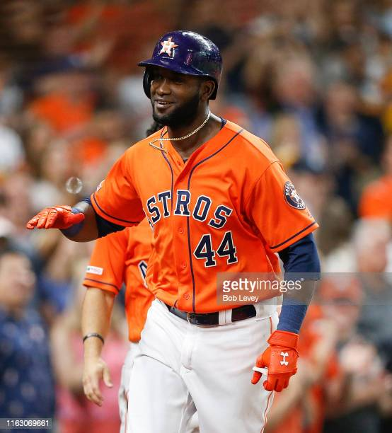 Yordan Alvarez of the Houston Astros hits a home run in the third inning against the Texas Rangers at Minute Maid Park on July 19 2019 in Houston...