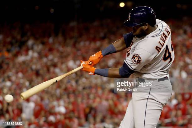 Yordan Alvarez of the Houston Astros hits a single against the Washington Nationals during the fourth inning in Game Five of the 2019 World Series at...