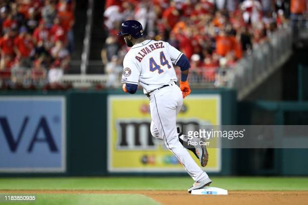 Yordan Alvarez of the Houston Astros hits a tworun home run against the Washington Nationals during the second inning in Game Five of the 2019 World...