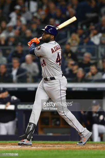 Yordan Alvarez of the Houston Astros in action against the New York Yankees during game four of the American League Championship Series at Yankee...