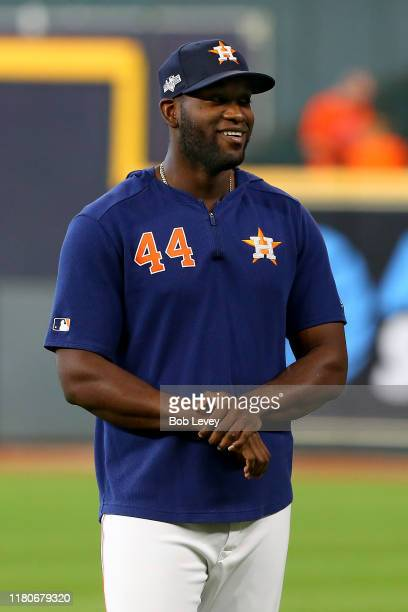 Yordan Alvarez of the Houston Astros looks on during batting practice prior to game one of the American League Championship Series against the New...