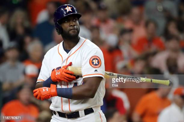 Yordan Alvarez of the Houston Astros reacts after striking out with the bases loaded against the Washington Nationals to end the seventh inning in...