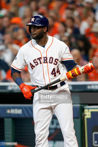 Yordan Alvarez of the Houston Astros stands on deck in the seventh inning against the Tampa Bay Rays at Minute Maid Park on October 4 2019 in Houston...