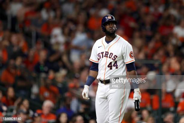 Yordan Alvarez of the Houston Astros walks back to dugout after striking out in the fifth inning against the Boston Red Sox during Game One of the...