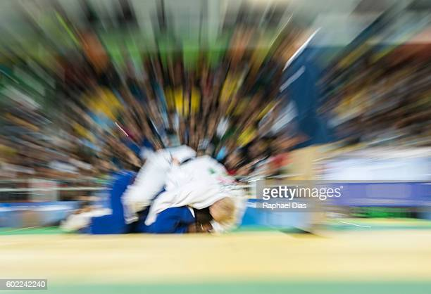 Yordani Fernandez Sastri of Cuba battles with Christopher Skelley of Great Britain at the Men 100kg Judo Bronze Medal bout on Day 2 of the Rio 2016...