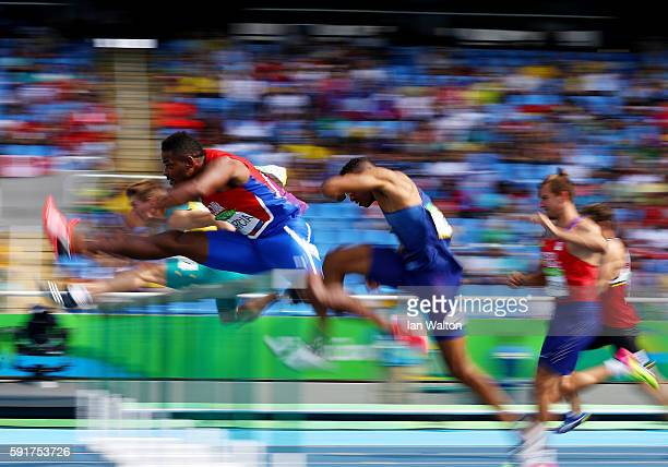 Yordani Garcia of Cuba competes in the Men's Decathlon 110m Hurdles on Day 13 of the Rio 2016 Olympic Games at the Olympic Stadium on August 18 2016...