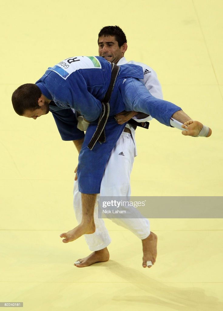 Yordanis Arencibia of Cuba lifts Alim Gadanov of Russia in the Men's -66 kg Judo event during day 2 of the Beijing 2008 Olympic Games at the University of Science and Technology Beijing Gymnasium on August 10, 2008 in Beijing, China.