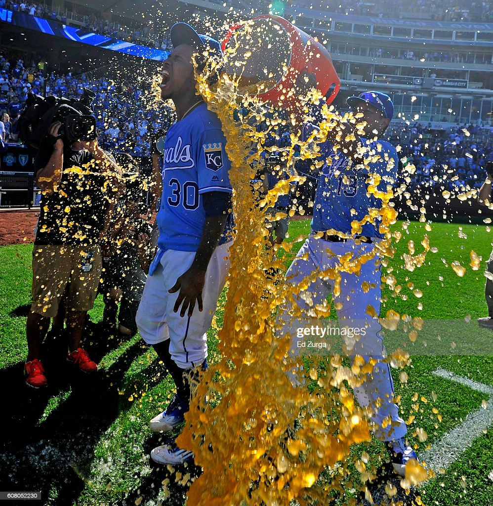 Yordano Ventura #30 of the Kansas City Royals is doused with Gatorade by Salvador Perez #13 after Ventura threw a complete game in the Royals' 8-3 win over the Chicago White Sox at Kauffman Stadium on September 19, 2016 in Kansas City, Missouri.