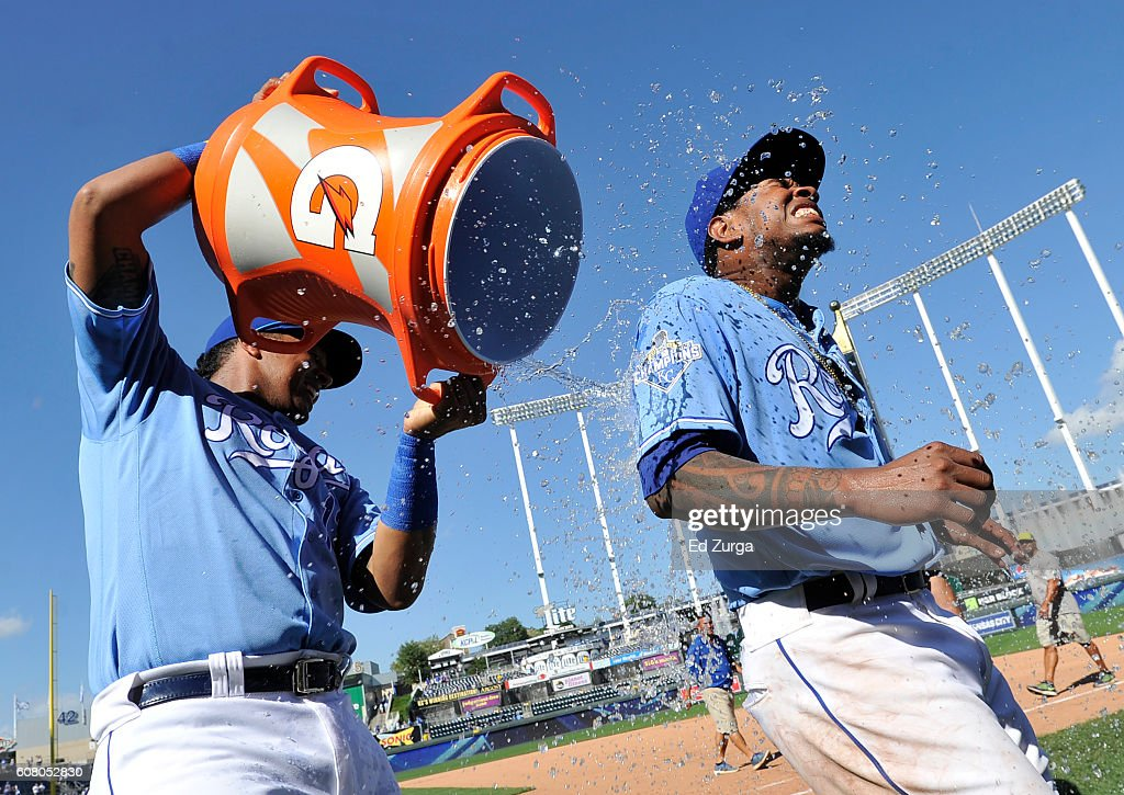 Yordano Ventura #30 of the Kansas City Royals is doused with water by Salvador Perez #13 after Ventura threw a complete game in the Royals' 8-3 win over the Chicago White Sox at Kauffman Stadium on September 19, 2016 in Kansas City, Missouri.