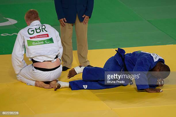 Yordany Sastre of Cuba battles with Christopher Skelley of Great Britain during the Men 100 kg Judo Bronze Medal on Day 3 of the Rio 2016 Paralympic...