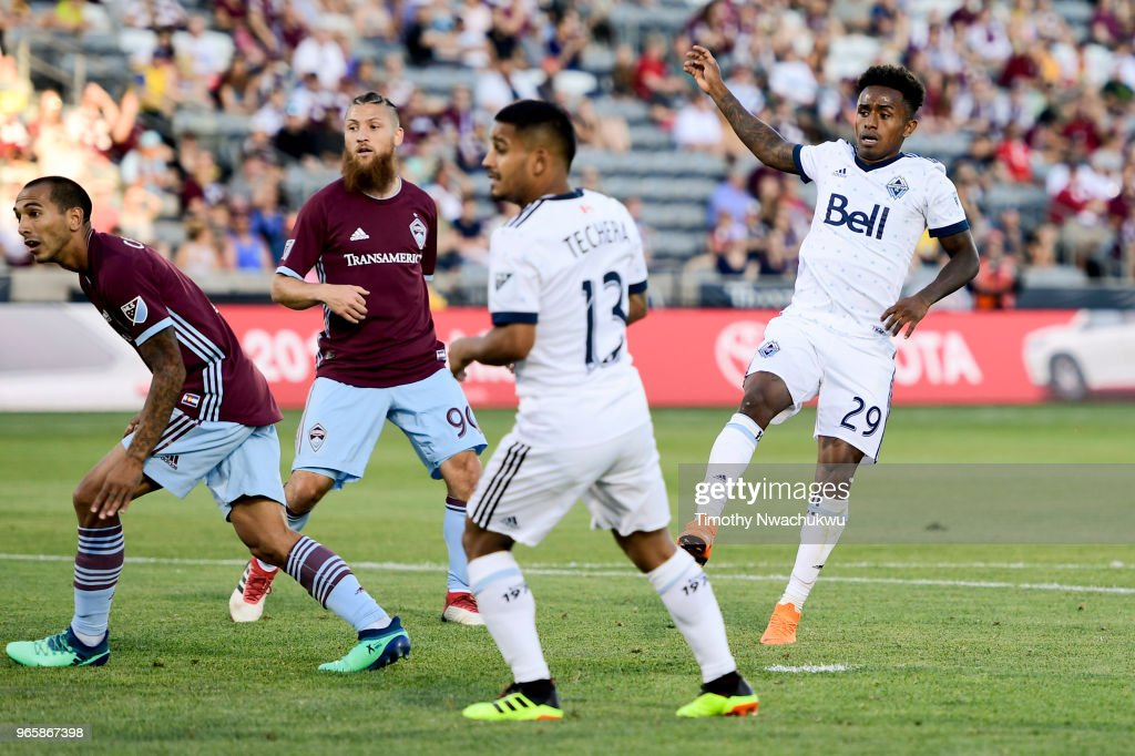 Yordi Reyna #29 of Vancouver Whitecaps watches his goal scored during the first half against the Colorado Rapids at Dick's Sporting Goods Park on June 1, 2018 in Commerce City, Colorado.