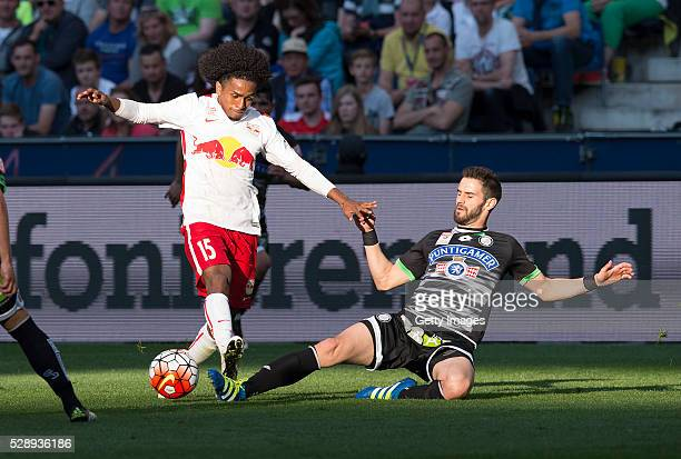 Yordy Reyna of Salzburg challenges Anastasios Avlonitis of Graz during the tipico Bundesliga match between Red Bull Salzburg and Sturm Graz at Red...