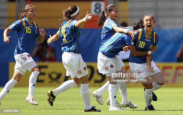 Yorely Rincon of Colombia celebrates scoring the first goal with her team during the FIFA U20 Women's World Cup Quarter Final match between Sweden...
