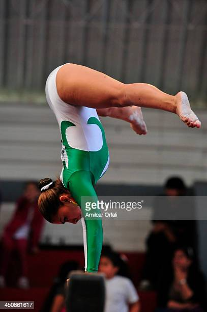 Yorgeley Portales VArgas of Bolivia competes in balance beam as part of the woman's Gymnastics All Around part of the XVII Bolivarian Games Trujillo...
