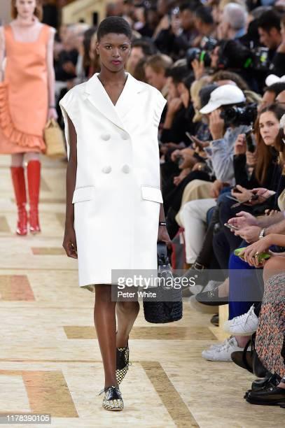 Yorgelis Marte walks the runway during the Miu Miu Womenswear Spring/Summer 2020 show as part of Paris Fashion Week on October 01, 2019 in Paris,...