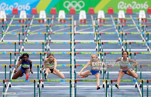 Yorgelis Rodriguez of Cuba Claudia Rath of Germany Anouk Vetter of the Netherlands and Katarina JohnsonThompson of Great Britain compete in the...