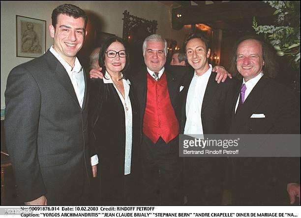 Yorgos Archimandritis 'Jean Claude Brialy' 'Stephane Bern' 'Andre Chapelle' 'Nana Mouskouri' wedding dinner at the restaurant 'L'Orangerie' in Paris