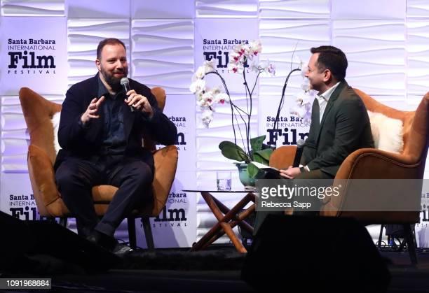 Yorgos Lanthimos and moderator Scott Feinberg speak onstage during the Outstanding Directors Award during the 34th Santa Barbara International Film...