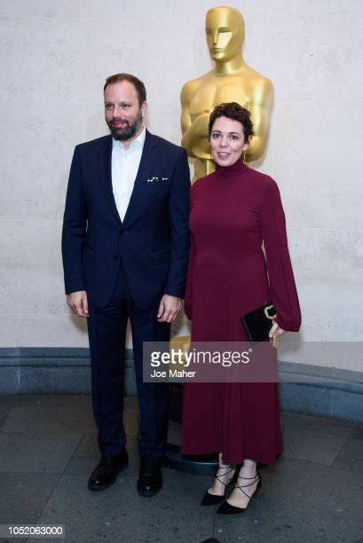 Yorgos Lanthimos and Olivia Colman attend The Academy of Motion Picture Arts and Sciences new members reception at The National Gallery on October 13...