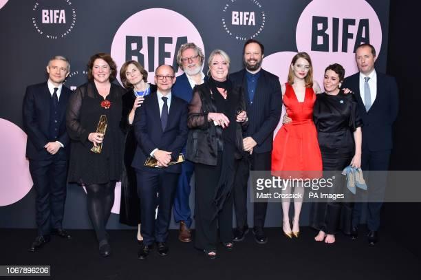 Yorgos Lanthimos Deborah Davis Tony McNamara Ceci Dempsey Ed Guiney Lee Magiday Emma Stone and Olivia Colman with the Best Independent Film award for...