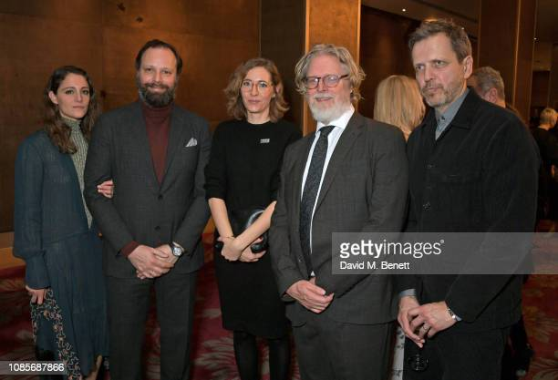 Yorgos Lanthimos Fiona Crombie Tony McNamara and guest attend The 39th London Film Critics' Circle Awards at The May Fair Hotel on January 20 2019 in...