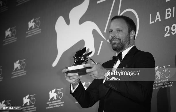 Image has been converted to black and white Yorgos Lanthimos poses with the Silver Lion Grand Jury Prize for 'The Favourite' at the Winners Photocall...