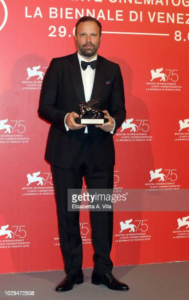 Yorgos Lanthimos poses with the Silver Lion Grand Jury Prize for 'The Favourite' at the Winners Photocall during the 75th Venice Film Festival at...