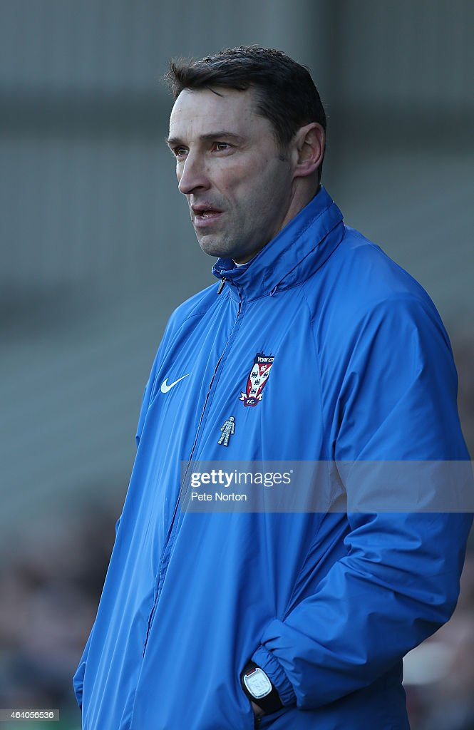 York City assistant manager Steve Torpey looks on during the Sky Bet League Two match between Northampton Town and York City at Sixfields Stadium on February 21, 2015 in Northampton, England.