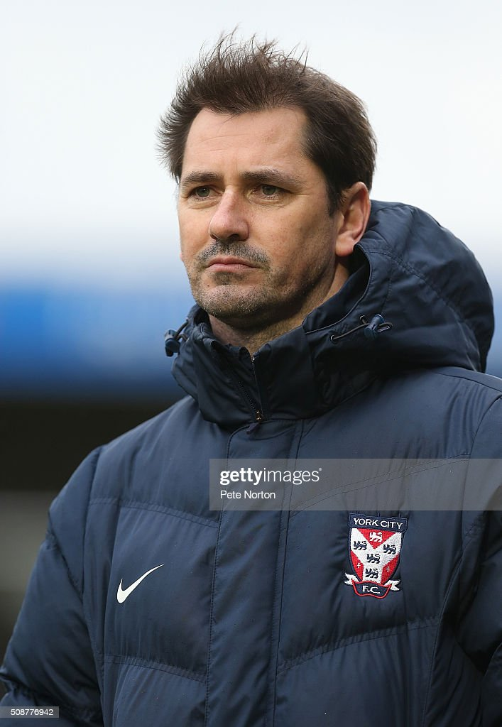 York City manager Jackie McNamara looks on during the Sky Bet League Two match between Northampton Town and York City at Sixfields Stadium on February 6, 2016 in Northampton, England.