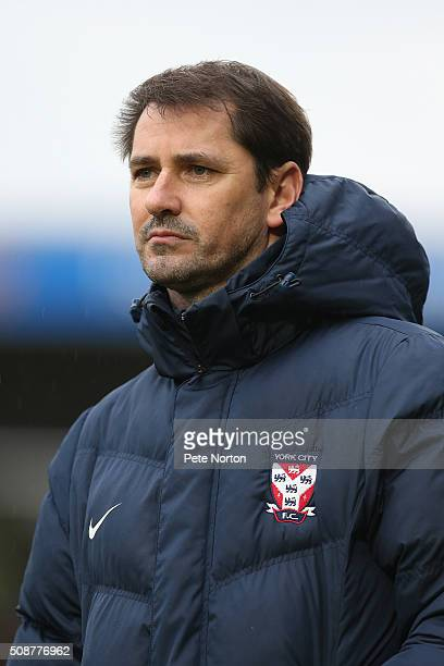 York City manager Jackie McNamara looks on during the Sky Bet League Two match between Northampton Town and York City at Sixfields Stadium on...