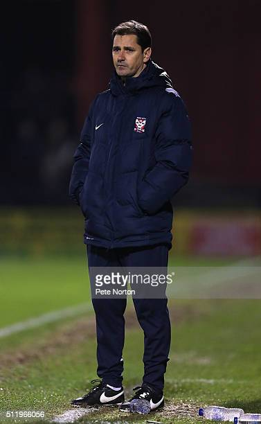 York City manager Jackie McNamara looks on during the Sky Bet League Two match between York City and Northampton Town at Bootham Crescent on February...