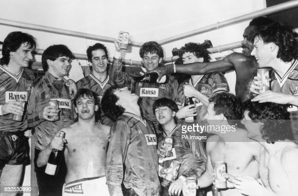 York City players celebrate their 10 victory in the dressing room after the match Alan Hay Mike Astbury Ricky Sbragia John MacPhail Sean Haslegrave...
