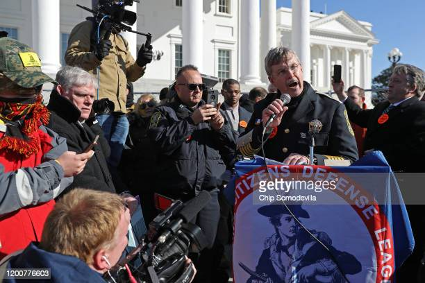 York County Virginia Sheriff Danny Diggs speaks during a gun rights rally organized by The Virginia Citizens Defense League on Capitol Square near...