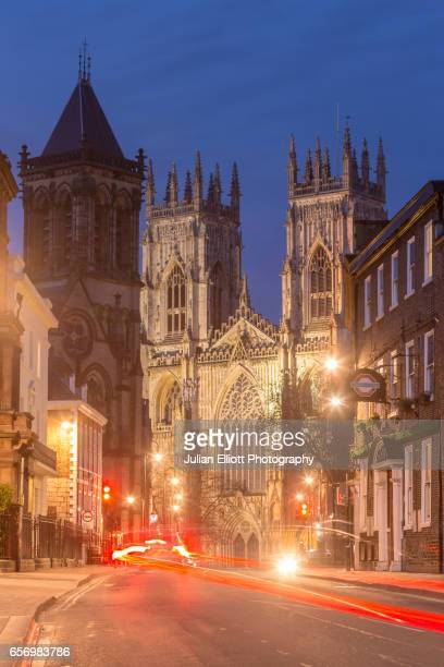 York Minster at night in the city of York, UK.