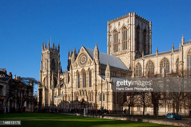 york minster cathedral in winter sun - york minster stock photos and pictures