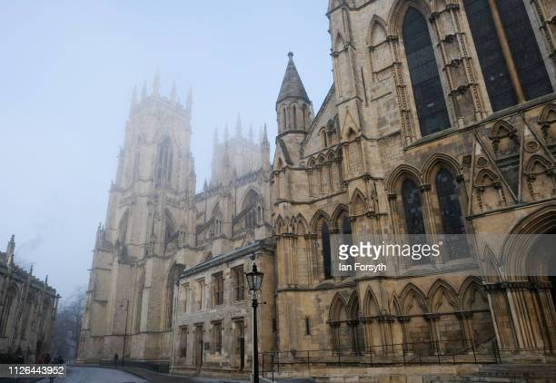 York Minster is shrouded in freezing fog as a hard frost covers York City on January 31 2019 in York United Kingdom Continuing freezing temperatures...