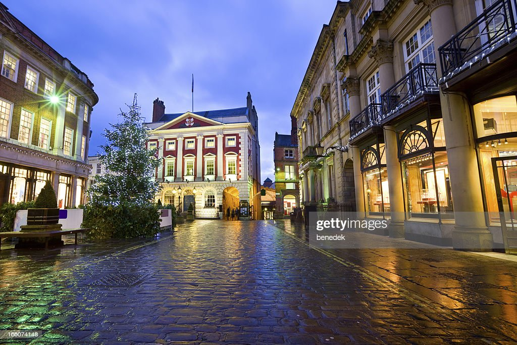 York North Yorkshire England UK Town Square with Christmas Tree : Stock Photo
