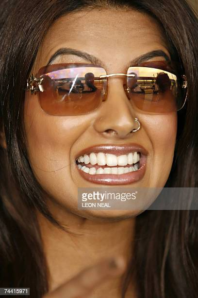 Geeta Basra Bollywood actress and star of the new film 'The Train' arrives at York Station in northern England 06 June 2007 with fellow cast members...