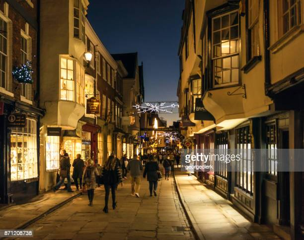 york's traditional shopping streets at christmas - york yorkshire stock pictures, royalty-free photos & images