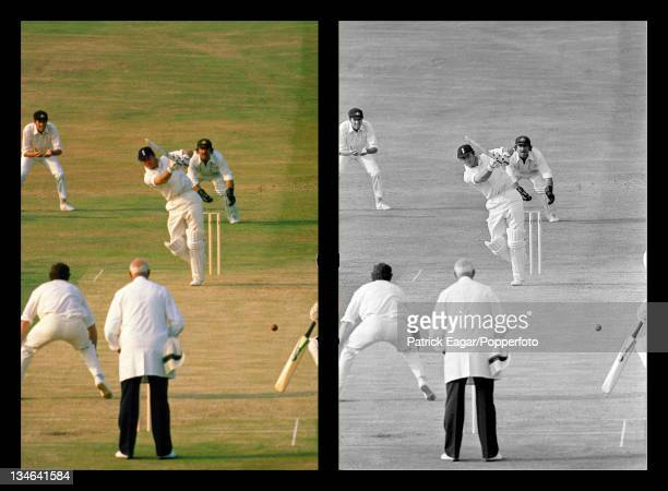 Yorkshire and England cricketer Geoff Boycott achieves his 100th century driving Greg Chappell for 4 during the 4th test between England and...