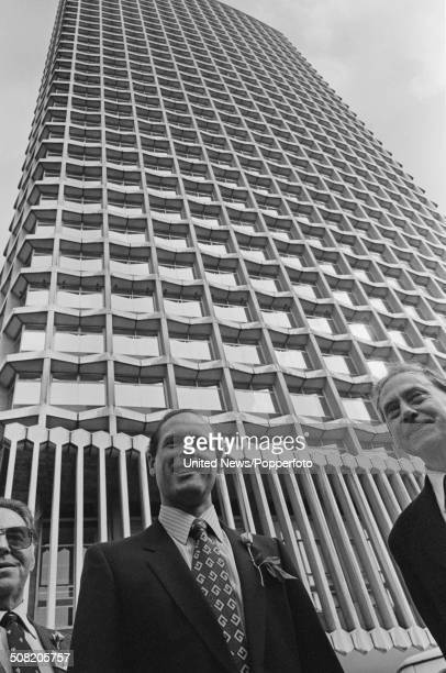 Yorkshire and England cricketer Geoffrey Boycott pictured standing in front of the Centre Point office building in London on 10th September 1981