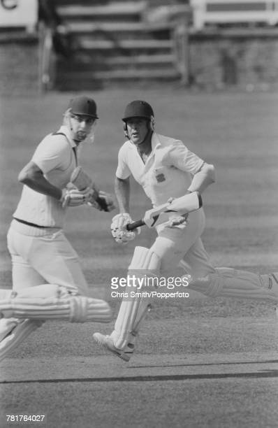Yorkshire and England cricketers Geoffrey Boycott and Martyn Moxon pictured in action batting for Yorkshire during the Schweppes County Championship...