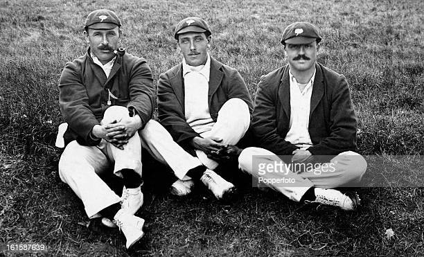 Yorkshire and England cricketers, , George Hirst, Wilfred Rhodes and Schofield Haigh, circa 1908.