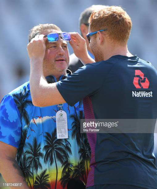 Yorkshire and England legends Darren Gough and Jonny Bairstow chat before Day One of the Second Test between England and South Africa on January 03,...